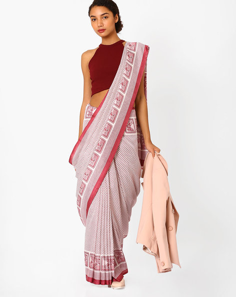Malbari Silk Printed Saree By Florence ( Lilac )