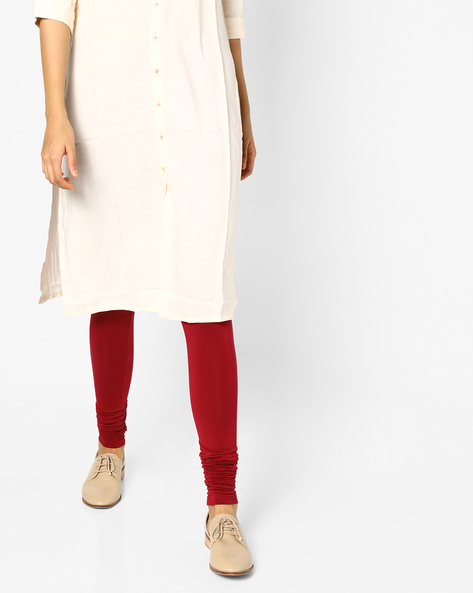 Churidar Leggings With Elasticated Waistband By Project Eve IW Casual ( Maroon )