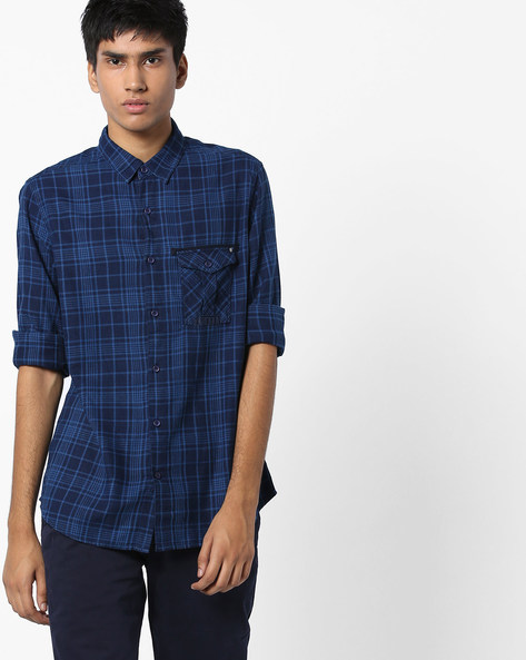 Checked Slim Fit Shirt By SPYKAR ( Indigo )