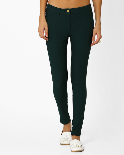 Skinny Flat-Front Trousers By Honey By Pantaloons ( Brtgreen )