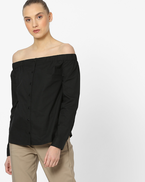 Off-Shoulder Full-Sleeve Shirt By Vero Moda ( Black )