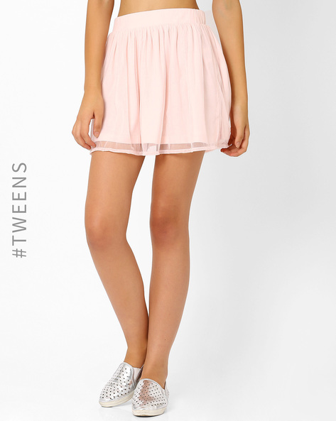 Mini Skirt With Mesh Layer By AJIO ( Pink )