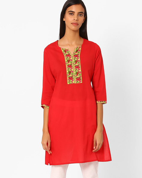 Straight Kurta With Contrast Taping By Rangmanch By Pantaloons ( Red )