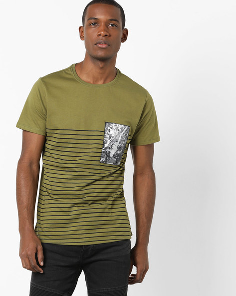 Placement Striped T-shirt With Printed Patch By AJIO ( Olive )