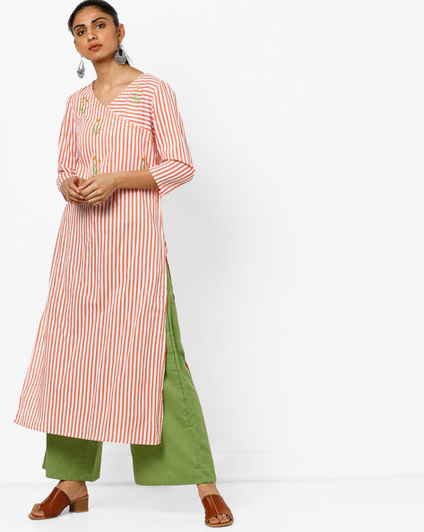 Striped Straight Kurta With Embroidery By AJIO ( Coral )
