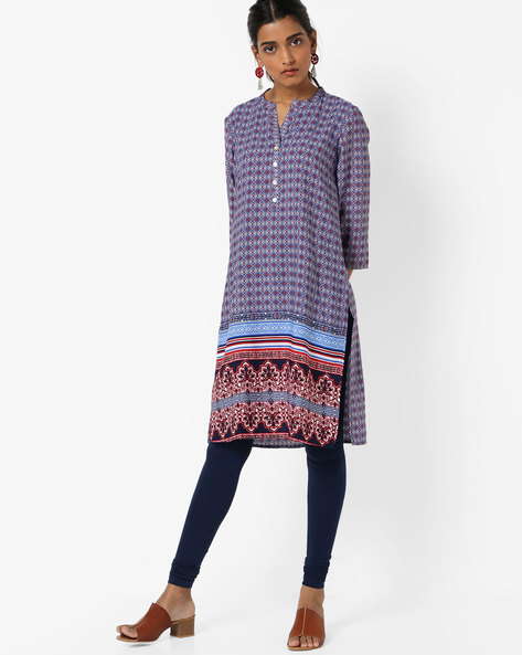 All-Over Print Straight Kurta By Melange By Lifestyle ( Navy )