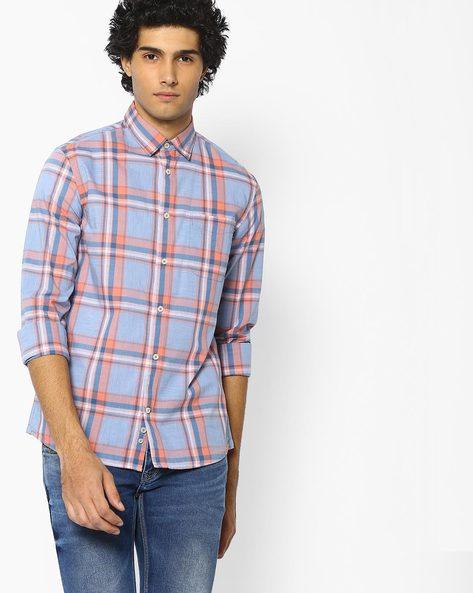 Checked Pure Cotton Shirt By Celio ( Lightblue )