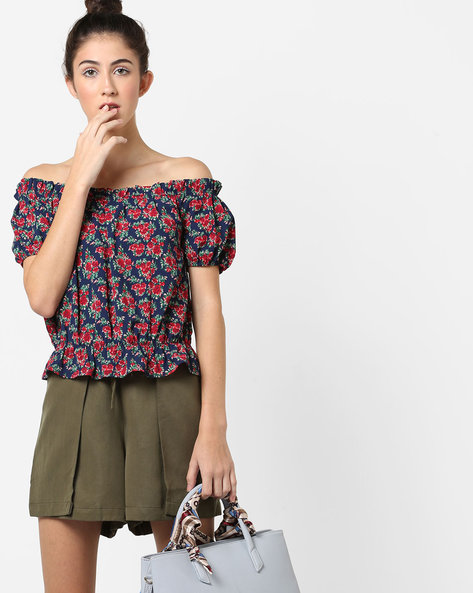 Floral Print Off-Shoulder Top By AJIO ( Multicolour )
