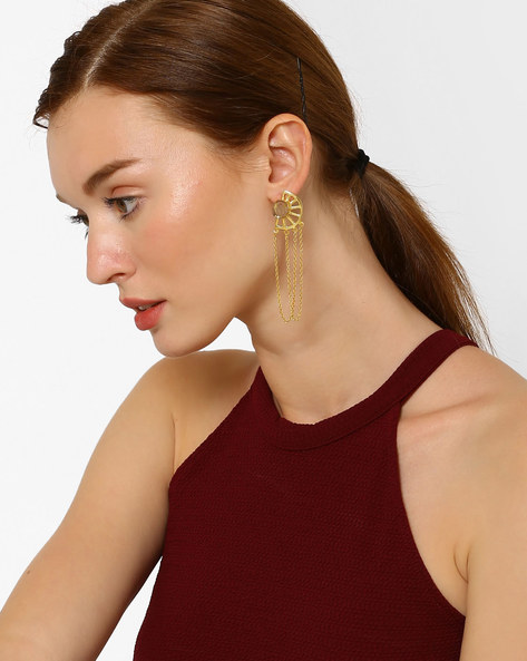 Rutile Drop-Earrings With Chain Detail By AJIO ( Clear )