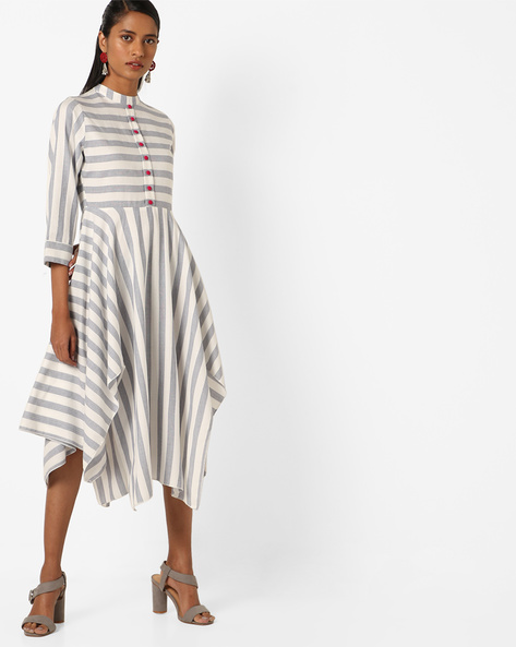 Striped Midi Dress With Handkerchief Hemline By Desi Fusion ( White )