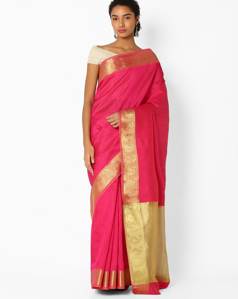 Saree With Paisley Zari Border By Amori ( Pink )