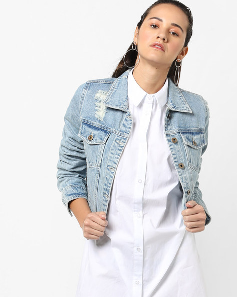 Printed Jacket With Frayed Hems By Ginger By Lifestyle ( Lightblue )