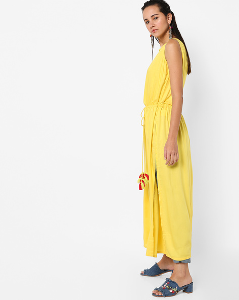 A-line Kurta With Waist Tie-Up By AJIO ( Yellow )