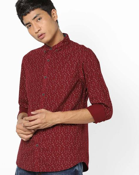 Printed Shirt With Curved Hemline By AJIO ( Maroon )