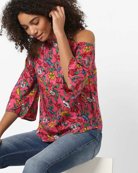 Cold-Shoulder Floral Print High-Neck Top By CODE By Lifestyle ( Pink )