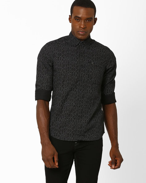 Printed Slim Fit Shirt By Lee ( Black )