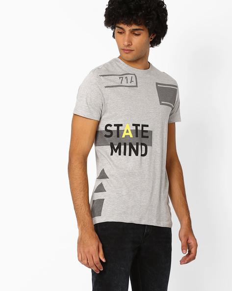 Graphic Print Slim T-shirt By AJIO ( Greymelange )