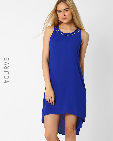 High-Low Dress With Embellished Neckline By AJIO ( Blue )