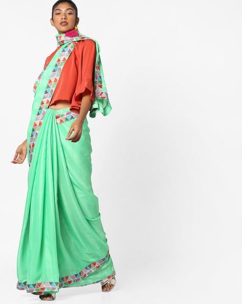 Chiffon Saree With Contrast Border By TRIVENI ( Green )
