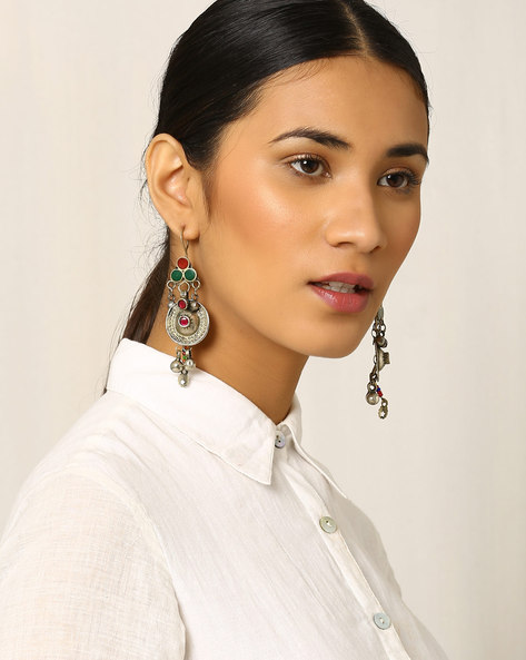 Handcrafted Afghan Tribal Drop-Earrings By Indie Picks ( Metallic )