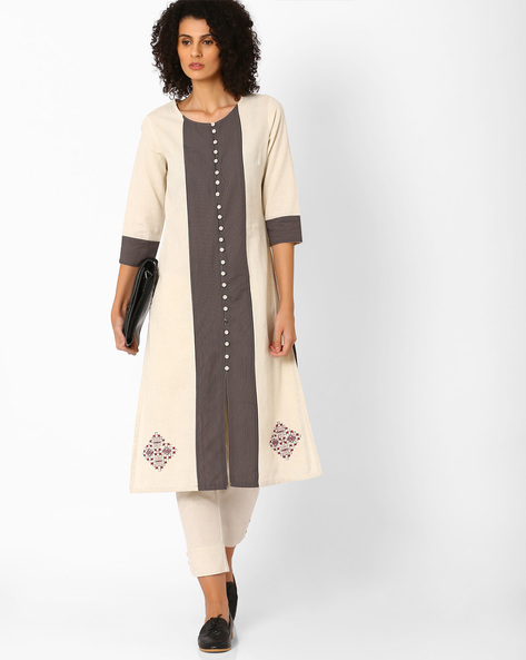 Straight Kurta With Striped Panel By AJIO ( Offwhite )