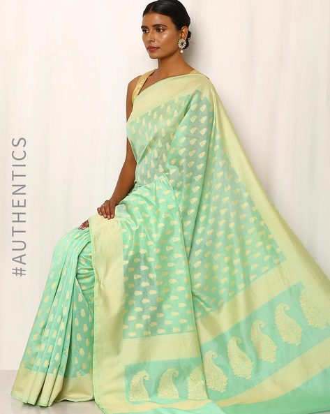 Banarasi Pure Silk Katan Cotton Cutwork Saree By Indie Picks ( Seagreen )