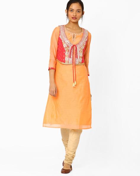 Straight Kurta With Embroidered Jacket By AJIO ( Orange )