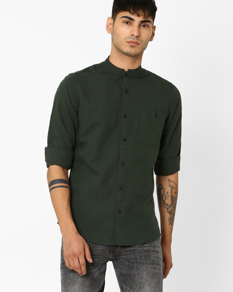 Casual Shirt With Band Collar By ADAMO LONDON ( Darkgreen )