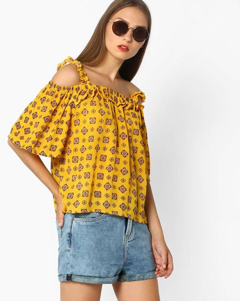 Printed Strappy Cold-Shoulder Top By AJIO ( Yellow )
