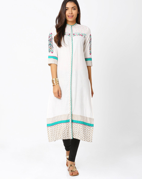 Embroidered Straight Kurta By W ( White )