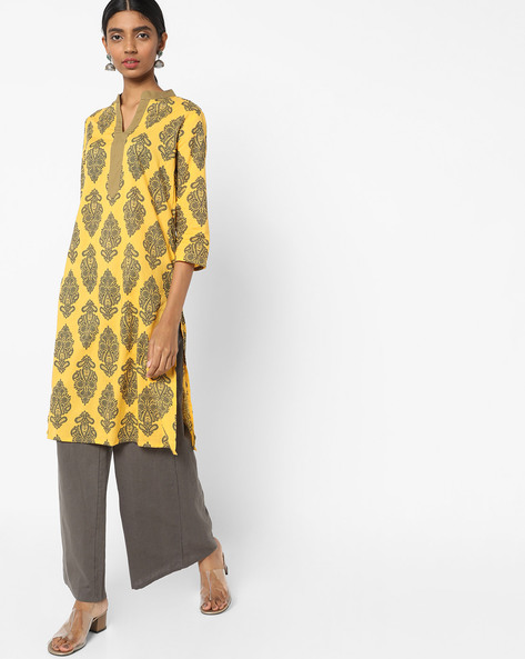 Printed Tunic With Mandarin Collar By AJIO ( Mustard )