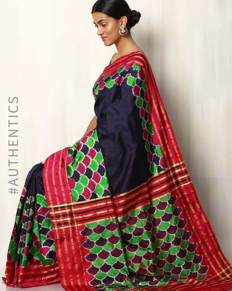 Handwoven Pochampally Ikat Pure Silk Saree By Indie Picks ( Multi )