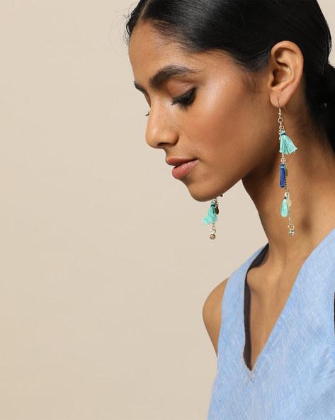 Brass Dangler Earrings With Tassels By Indie Picks ( Blue )