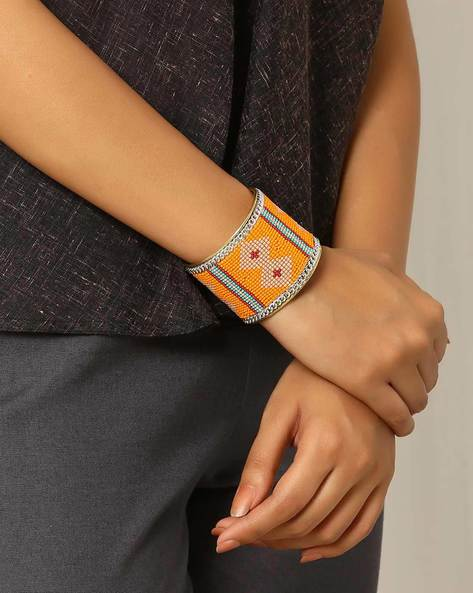 Adjustable Beaded Bracelet By Indie Picks ( Orange )