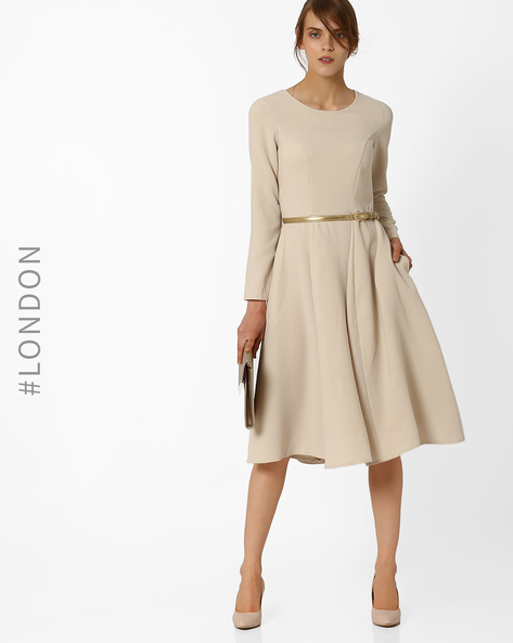 Fit & Flare Dress With Belt By Closet London ( Offwhite )