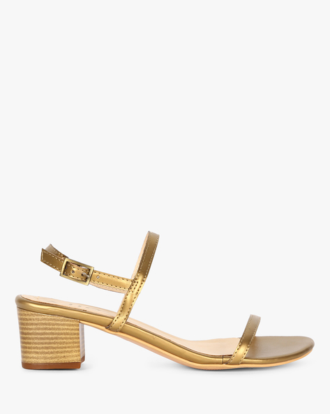 Strappy Block Heels With Buckle Closure By AJIO ( Gold )