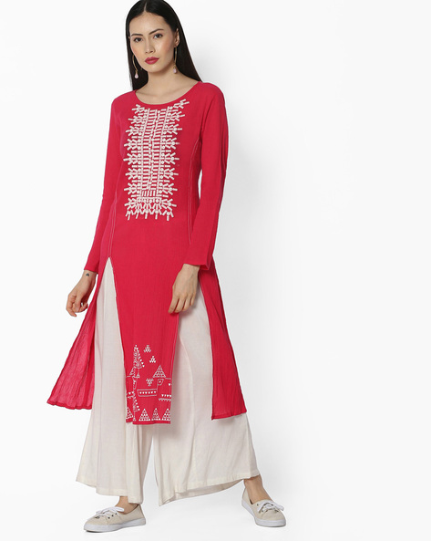 Straight Kurta With Embroidery By Global Desi ( Pink )
