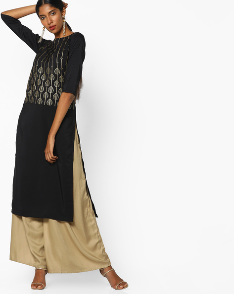 Foil Print Straight Kurta By ZIYAA ( Black ) - 460097570001