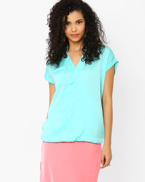 Blouson Top With Overlapping Front By AJIO ( Aqua )