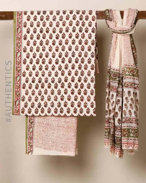 Bagru Handblock Print Cotton 3-Piece Dress Material By Indie Picks ( Red ) - 460178667001