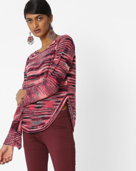Knitted Top With Self-Design By Vero Moda ( Purple )