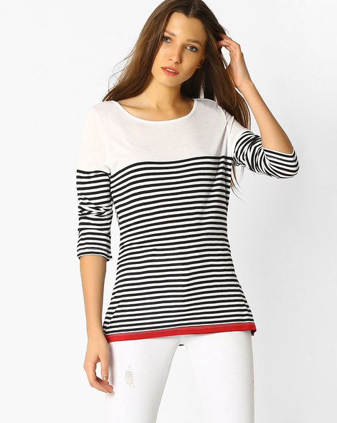Striped Boat-Neck Top By FIG ( White )