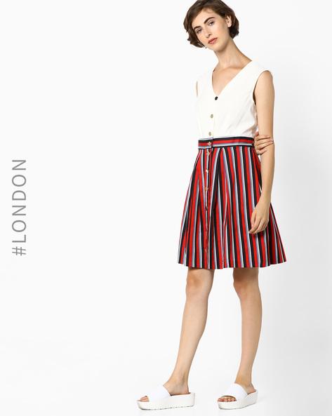 Sleeveless Button-Down Dress By Closet London ( Multi )