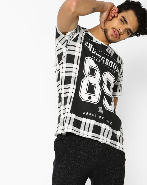 Checked Crew-Neck T-shirt With Raw Edges By DNMX ( Offwhite )
