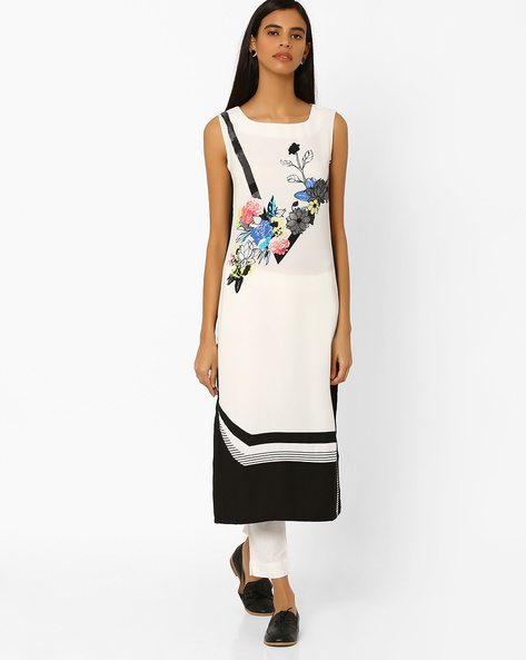 Printed Sleeveless Straight Kurta By W ( White )