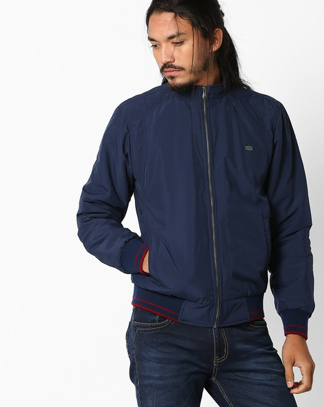 Regular Fit Jacket With Zipper By NETPLAY ( Navy )