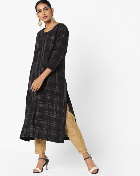 Checked Kurta With Front Slit Hem By Project Eve IW Casual ( Navy )