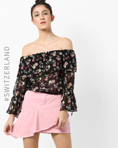 Floral Print Off-Shoulder Top By TALLY WEiJL ( Black )