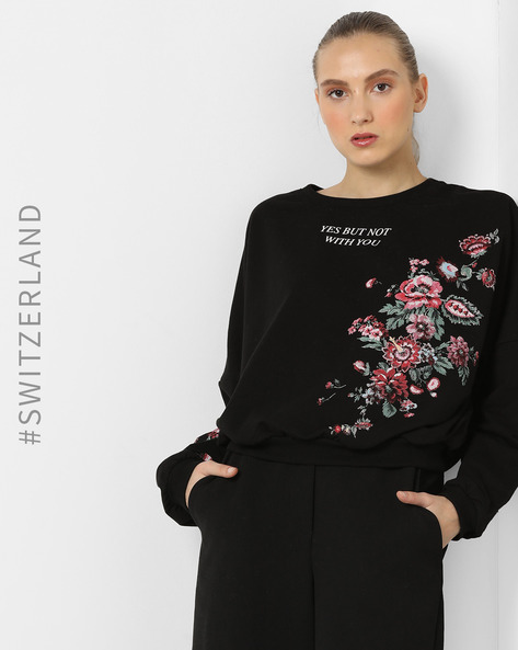 Floral Print Crew-Neck Pullover By TALLY WEiJL ( Black )