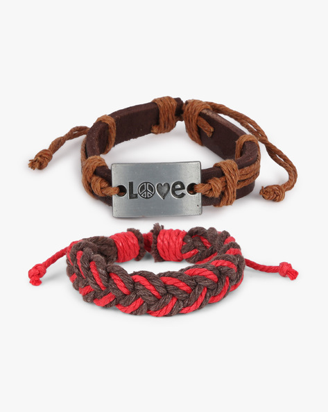 Pack Of 2 Bracelets By ALPHA MAN ( Red )